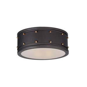 Trestle Oil Rubbed Bronze and Antique Brass Two-Light Flush Mount