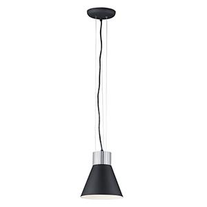 Satin Aluminum and Black Integrated LED Adjustable Mini Pendant