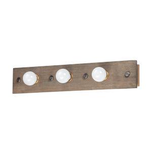 Plank Weathered Wood and Antique Brass Three-Light ADA Vanity Light