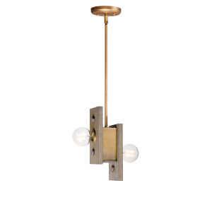 Plank Weathered Wood and Antique Brass Two-Light Mini Pendant