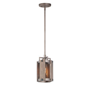 Outland Barn Wood and Weathered Zinc One-Light Mini Pendant