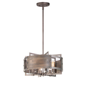 Outland Barn Wood and Weathered Zinc Six-Light Pendant