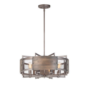 Outland Barn Wood and Weathered Zinc Eight-Light Pendant