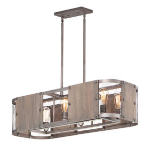 Outland Barn Wood and Weathered Zinc Six-Light Linear Pendant
