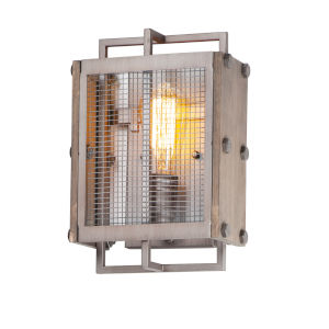 Outland Barn Wood and Weathered Zinc One-Light ADA Wall Sconce