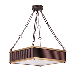 Ruffle Oil Rubbed Bronze and Burnished Brass 18-Inch Four-Light Pendant