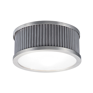 Ruffle Weathered Zinc and Satin Nickel 17-Inch Four-Light Flush Mount