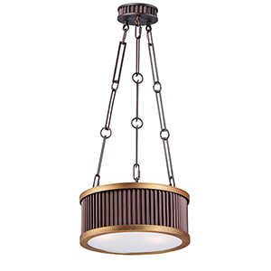 Ruffle Oil Rubbed Bronze and Burnished Brass 13-Inch Three-Light Pendant