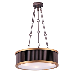 Ruffle Oil Rubbed Bronze and Burnished Brass 17-Inch Four-Light Pendant
