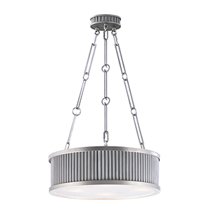 Ruffle Weathered Zinc and Satin Nickel 17-Inch Four-Light Pendant
