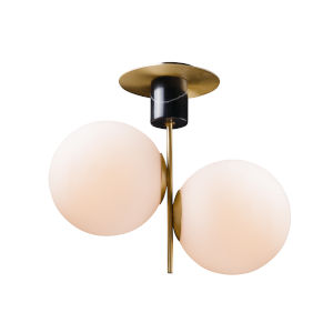 Vesper Satin Brass and Black 10-Inch Two-light Semi-Flush Mount