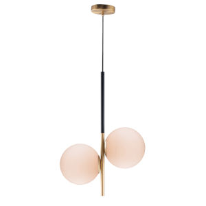 Vesper Satin Brass and Black 10-Inch Two-light Adjustable Pendant