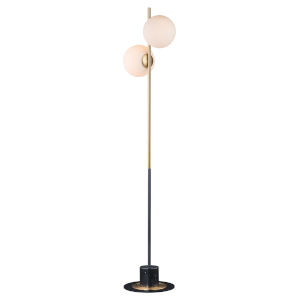 Vesper Satin Brass and Black Eight-Inch Two-light Floor Lamp