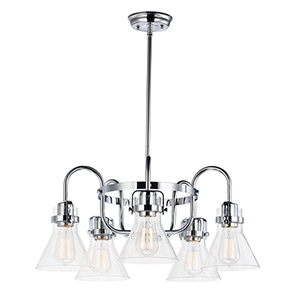 Seafarer Polished Chrome 23-Inch Five-Light Chandelier
