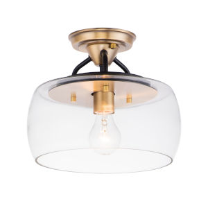 Goblet Black and Antique Brass 11-Inch One-Light Semi-Flush Mount