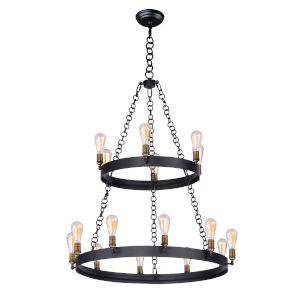Noble Black and Natural Aged Brass 38-Inch 16-Light Chandelier