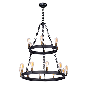 Noble Black and Natural Aged Brass 16-Light Chandelier