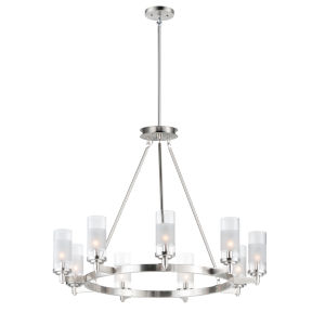 Crescendo Satin Nickel 35-Inch Nine-Light Adjustable Chandelier