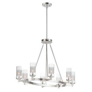 Crescendo Satin Nickel 24-Inch Eight-Light Adjustable Oval Chandelier