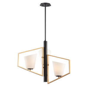 Oblique Gold and Black Three-Light Pendant