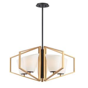 Oblique Gold and Black Five-Light Pendant