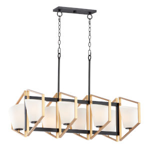 Oblique Gold and Black Eight-Light Linear Pendant