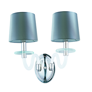 Venezia Polished Nickel 15-Inch Two-Light Wall Sconce with Silver Shade