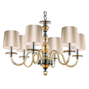 Venezia Polished Nickel 28-Inch Six-Light Chandelier with Gold Shades