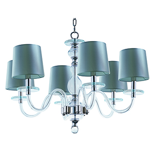 Venezia Polished Nickel 28-Inch Six-Light Chandelier