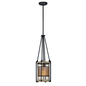Boundry Black Barn Wood and Antique Brass One-Light Adjustable Mini Pendant