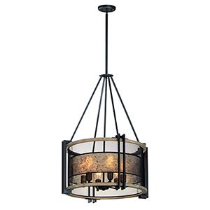 Boundry Black Barn Wood and Antique Brass Six-Light Adjustable Pendant