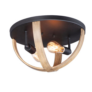 Compass Barn Wood and Black Two-Light Flush Mount