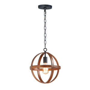 Compass Antique Pecan and Black One-Light Single Pendant
