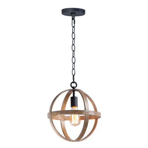 Compass Barn Wood and Black One-Light Single Pendant