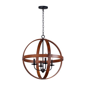 Compass Antique Pecan and Black Four-Light Single Pendant