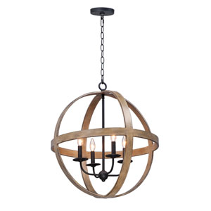 Compass Barn Wood and Black Four-Light Single Pendant