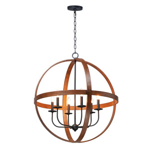 Compass Antique Pecan and Black Six-Light Single Pendant