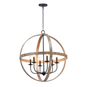 Compass Barn Wood and Black Six-Light Single Pendant