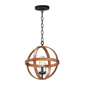 Compass Antique Pecan and Black One-Light Outdoor Pendant