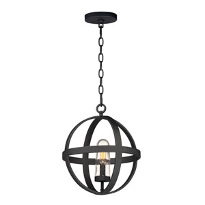 Compass Black One-Light Outdoor Pendant