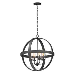 Compass Black Four-Light Outdoor Pendant