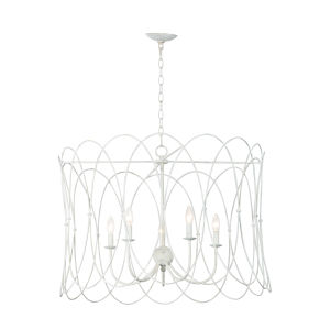 Trellis Weathered White Five-Light Pendant