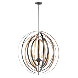 Radial Black and Gold Five-Light Pendant