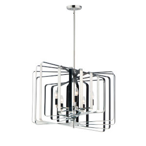 Radial Polished Nickel and Black 20-Inch Five-Light Pendant