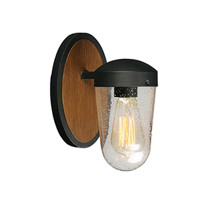 Lido Antique Pecan and Black One-Light Outdoor Wall Mount Sconce