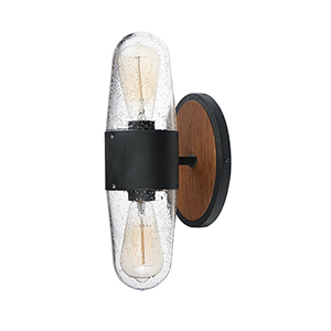 Lido Antique Pecan and Black Two-Light Outdoor Wall Mount Sconce