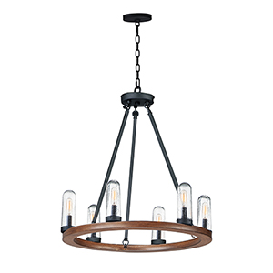Lido Antique Pecan and Black Six-Light Adjustable Outdoor Chandelier