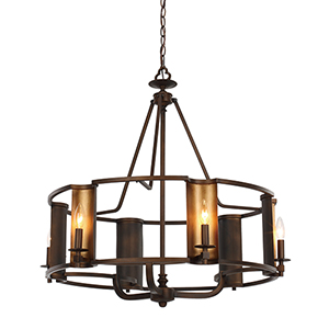 Candella Chestnut Bronze and Gold 31-Inch Six-Light Chandelier