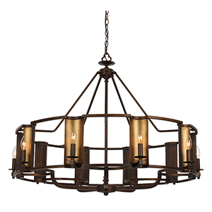 Candella Chestnut Bronze and Gold 42-Inch 10-Light Chandelier