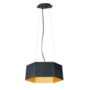 Honeycomb Black and Gold One-Light LED Pendant